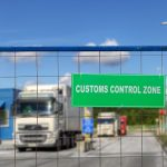 A UK freight lorry arriving at customs in the EU